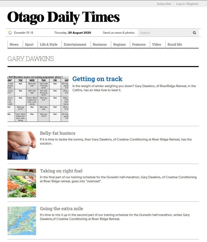 Otago Daily Times featuring Gary Dawkins